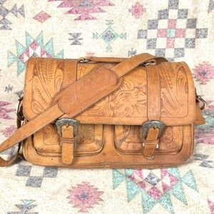 VINTAGE Tooled Leather Briefcase or Overnight Bag